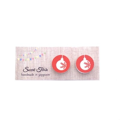 Red Christmas Ornament Studs