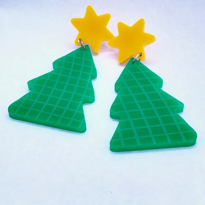 Funky Green Christmas Tree Dangle Earrings