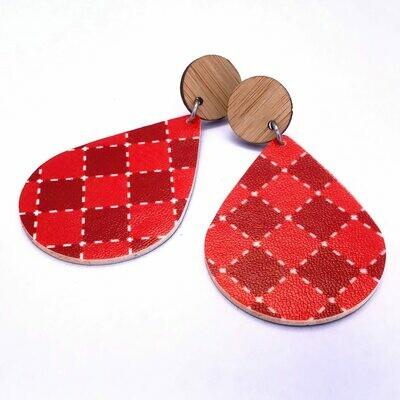 Red Check Teardrop Dangle Earrings