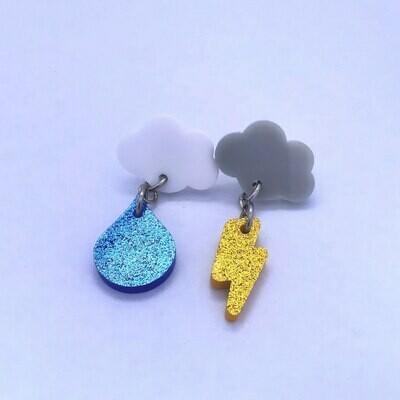 Raindrop & Lightning Dangle Earrings