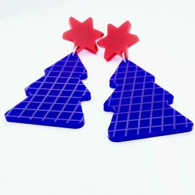 Funky Blue Christmas Tree Dangle Earrings