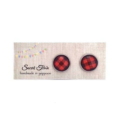 Red Tartan Check Earrings