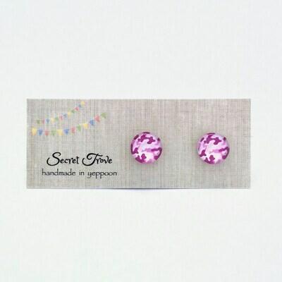 Pink Camouflage Earrings