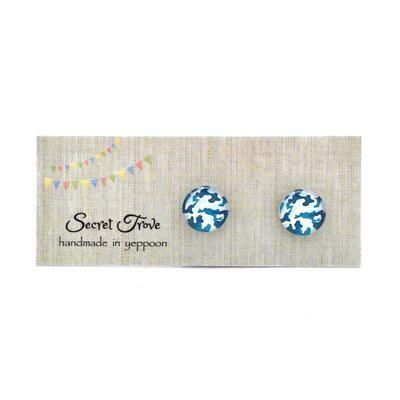 Blue Camouflage Earrings