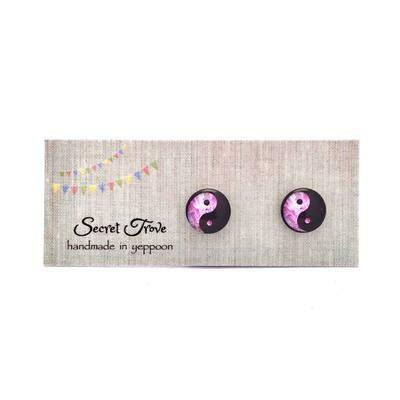 Pink Yin Yang Earrings- 10mm