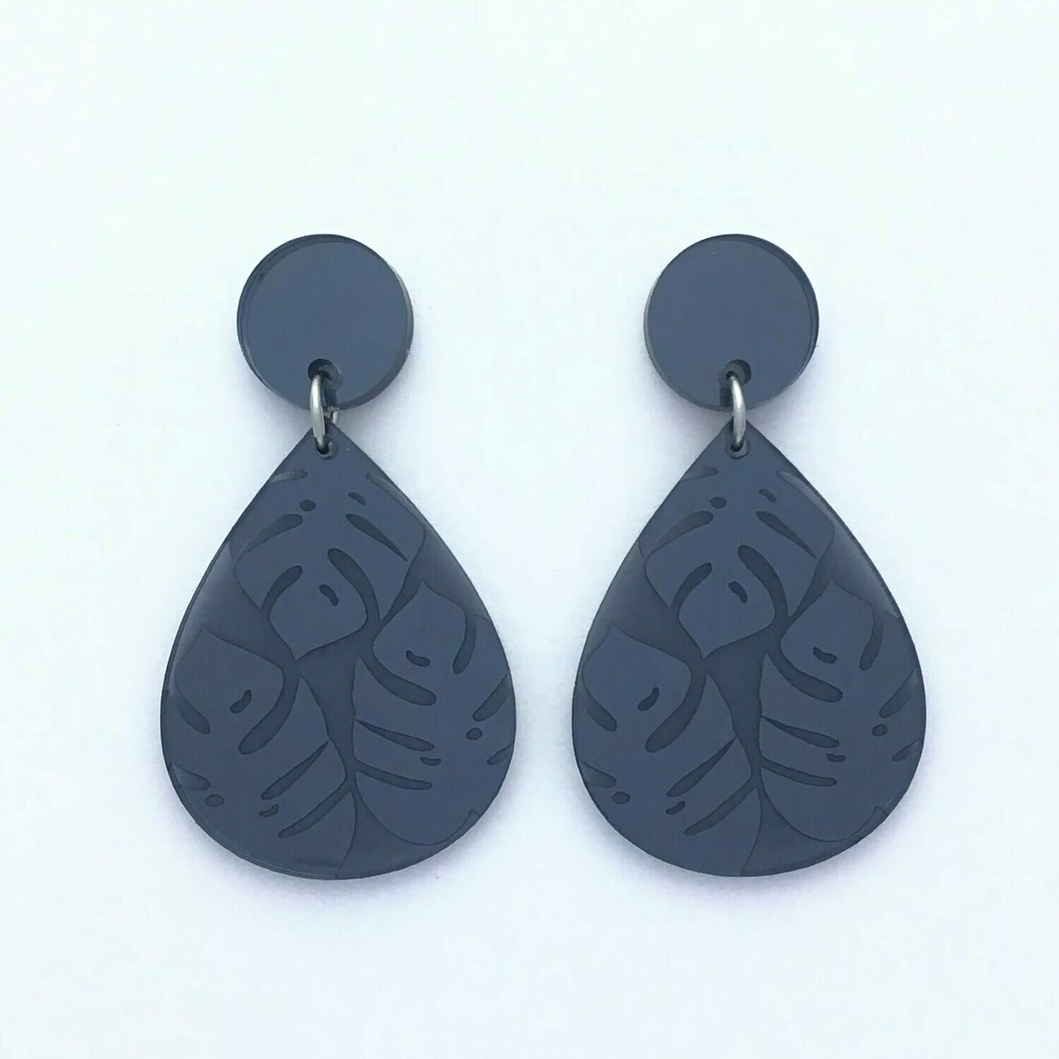 Mirror Top Smoky Grey Monstera Teardrop Dangles