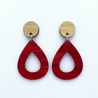 Ruby Red Teardrop Dangles