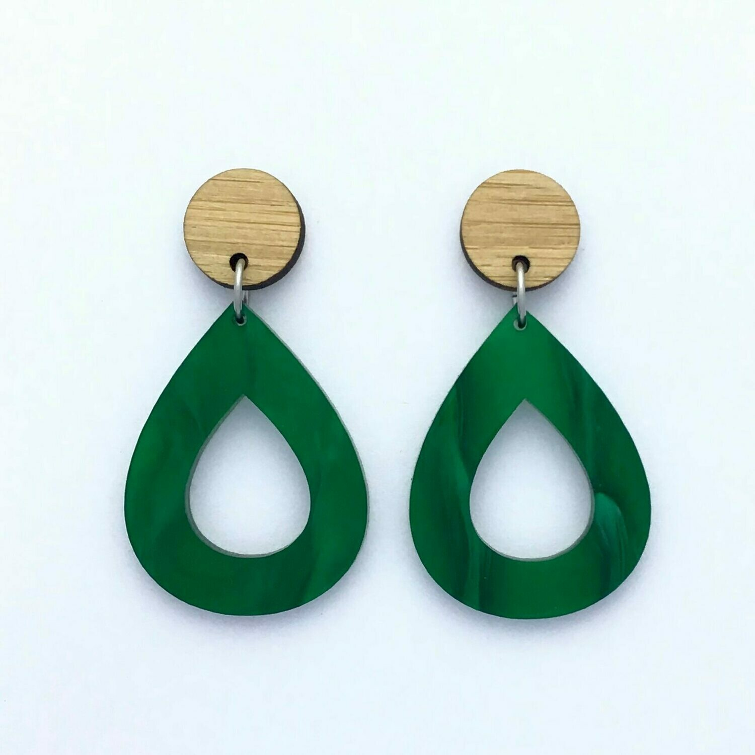 Forest Green Teardrop Dangles