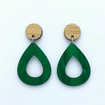 Forest Green Teardrop Dangles