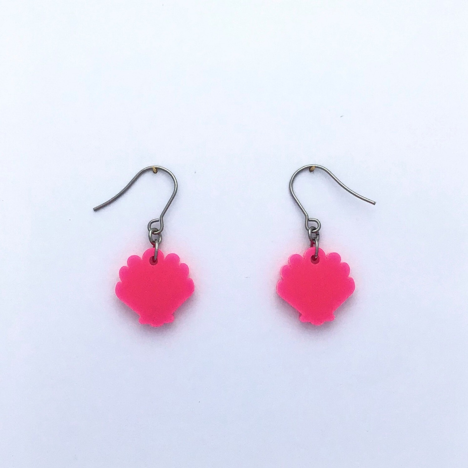 Tiny Hot Pink Shell Dangles