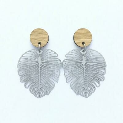 Bamboo Top Large Monstera Stainless Steel Dangles