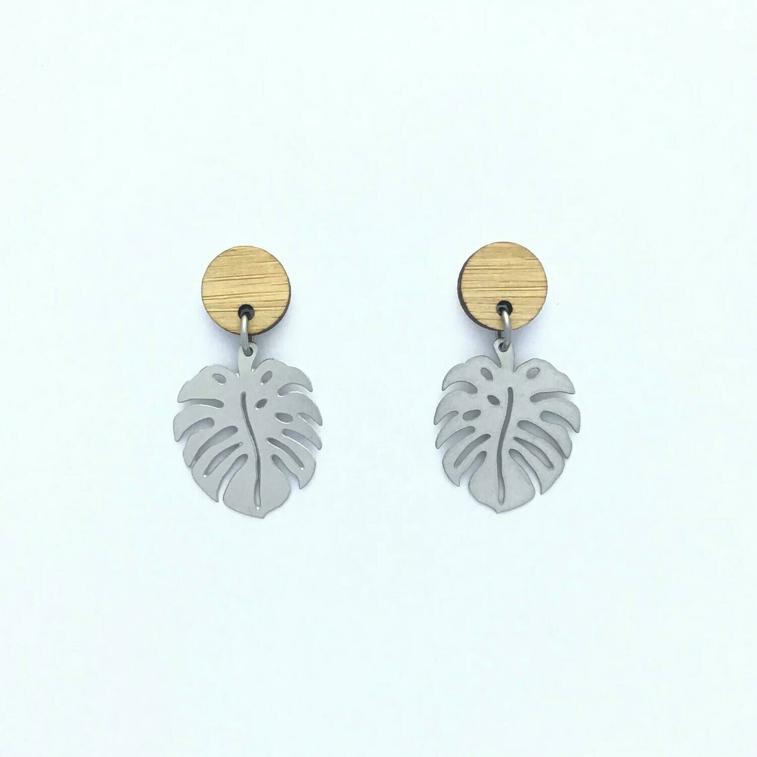 Bamboo Top Monstera Stainless Steel Dangles