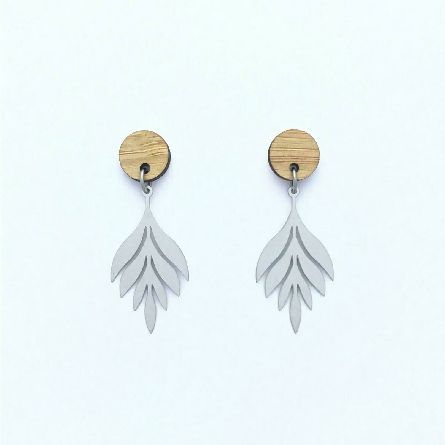 Bamboo Top Long Leaf Stainless Steel Dangles