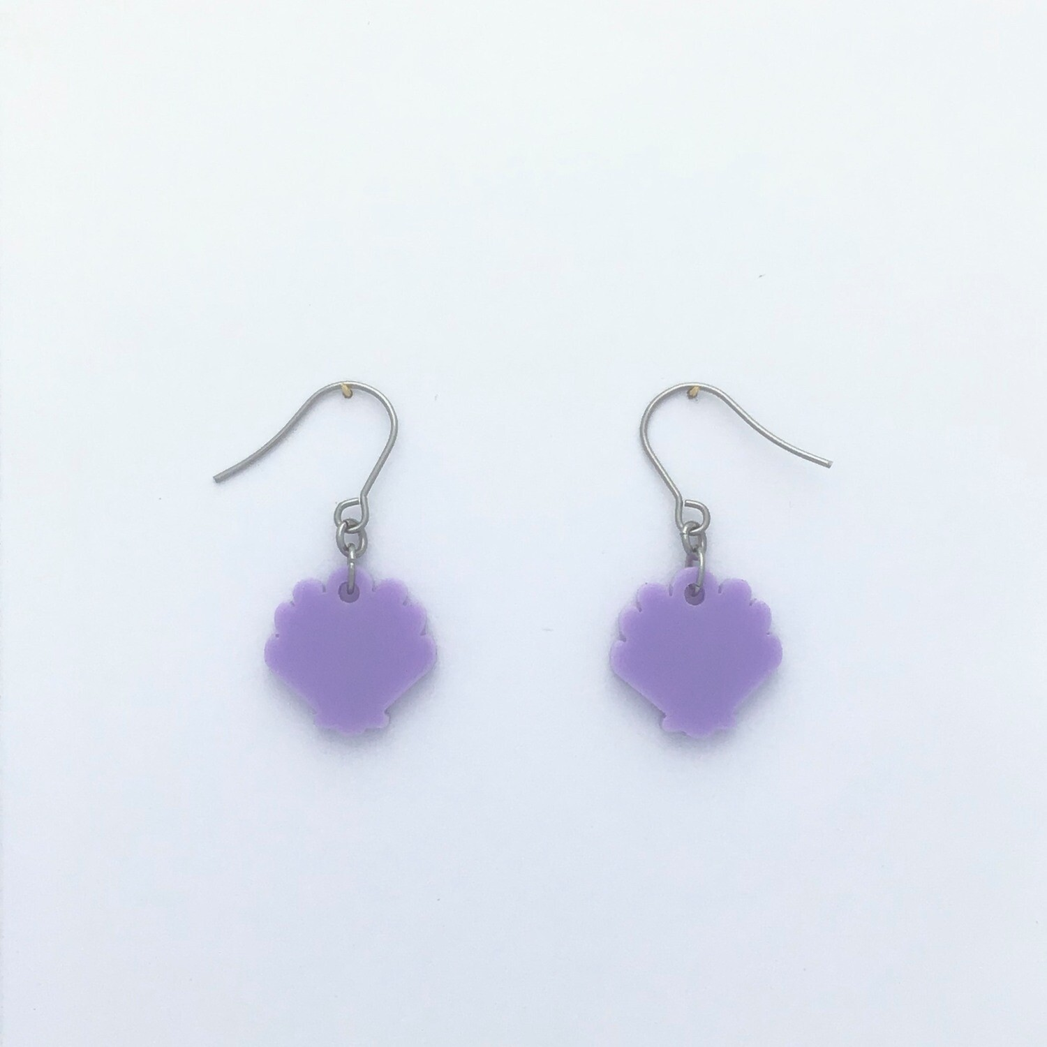 Tiny Lilac Shell Dangles