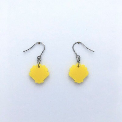 Tiny Sunshine Yellow Shell Dangles