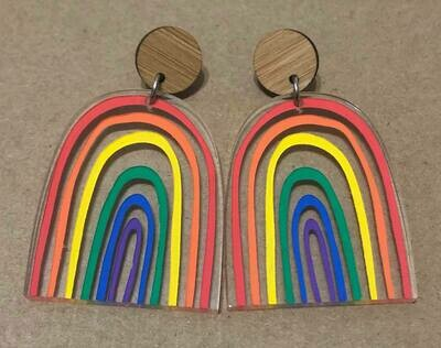 Large Bright & Happy Rainbow dangles