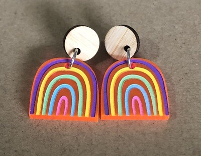 Small 'One of a Kind' Pink Acrylic Rainbow dangles