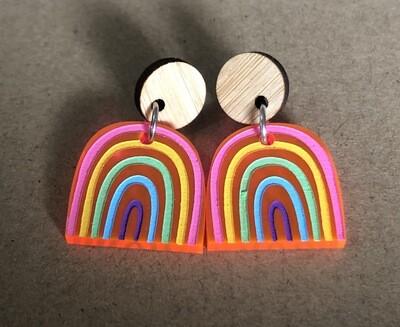 Small Pastel Pink Acrylic Rainbow dangles