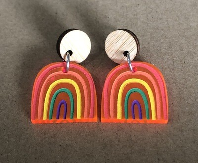 Small Bright & Happy Pink Acrylic Rainbow dangles