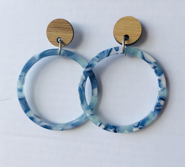 Blue Hoop Dangles