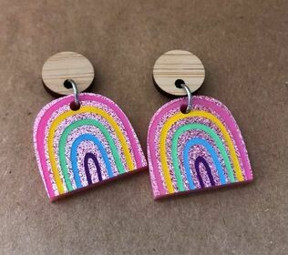 Pink Sparkly Rainbow Dangles (small)