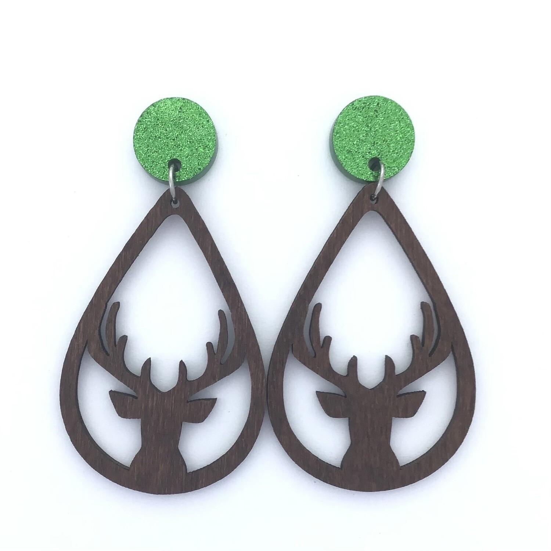 Green Top Deer Dangles