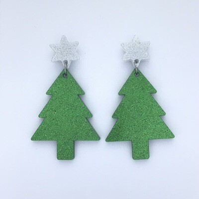Silver Star Christmas Tree Dangles