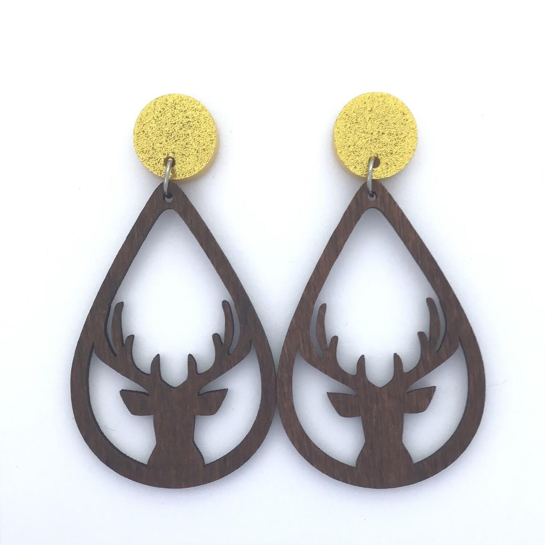 Gold Top Deer Dangles