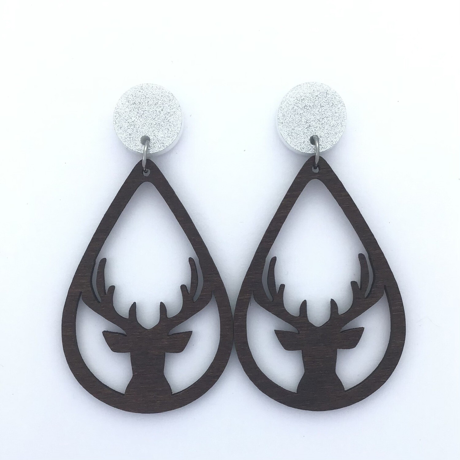 Silver Top Deer Dangles