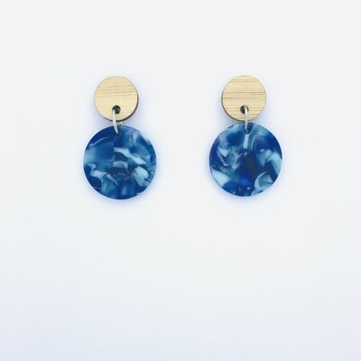 Blue Swirl Circle Dangles
