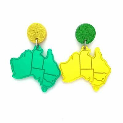 Green & Gold Australia Dangle Earrings