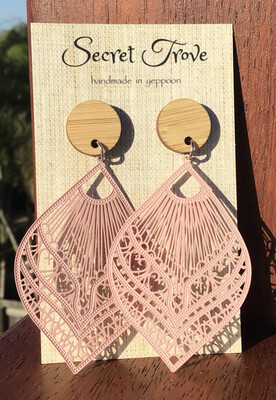 Bamboo Top Pink Patterned Teardrops