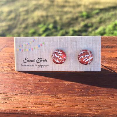 Red Crane Earrings - 12mm