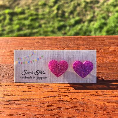 Dark Pink Glitter Hearts