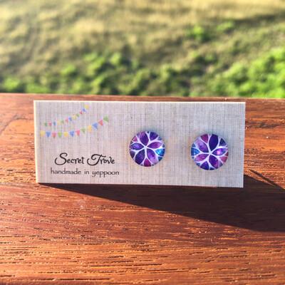 Purple Leaf Earrings - 12mm