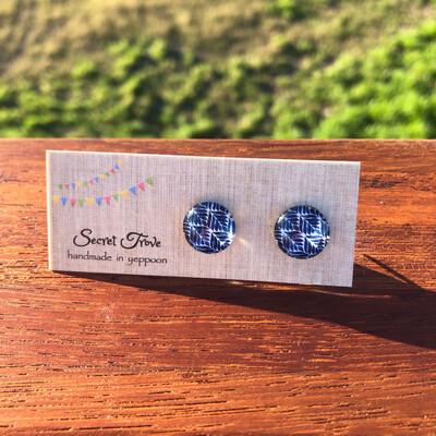 Blue Leaf Earrings - 12mm