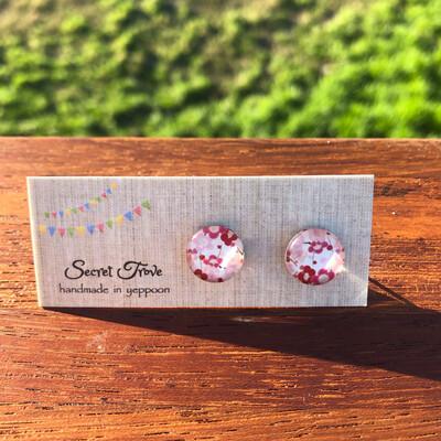 Pink Flower Earrings - 12mm