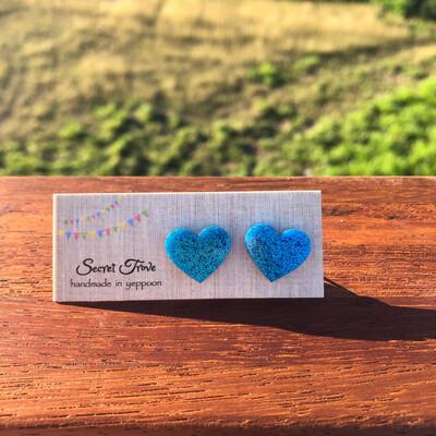 Blue Glitter Hearts
