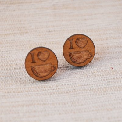 Wooden 'I love coffee' Studs