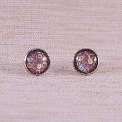 Brown Base Tiny Circle Earrings