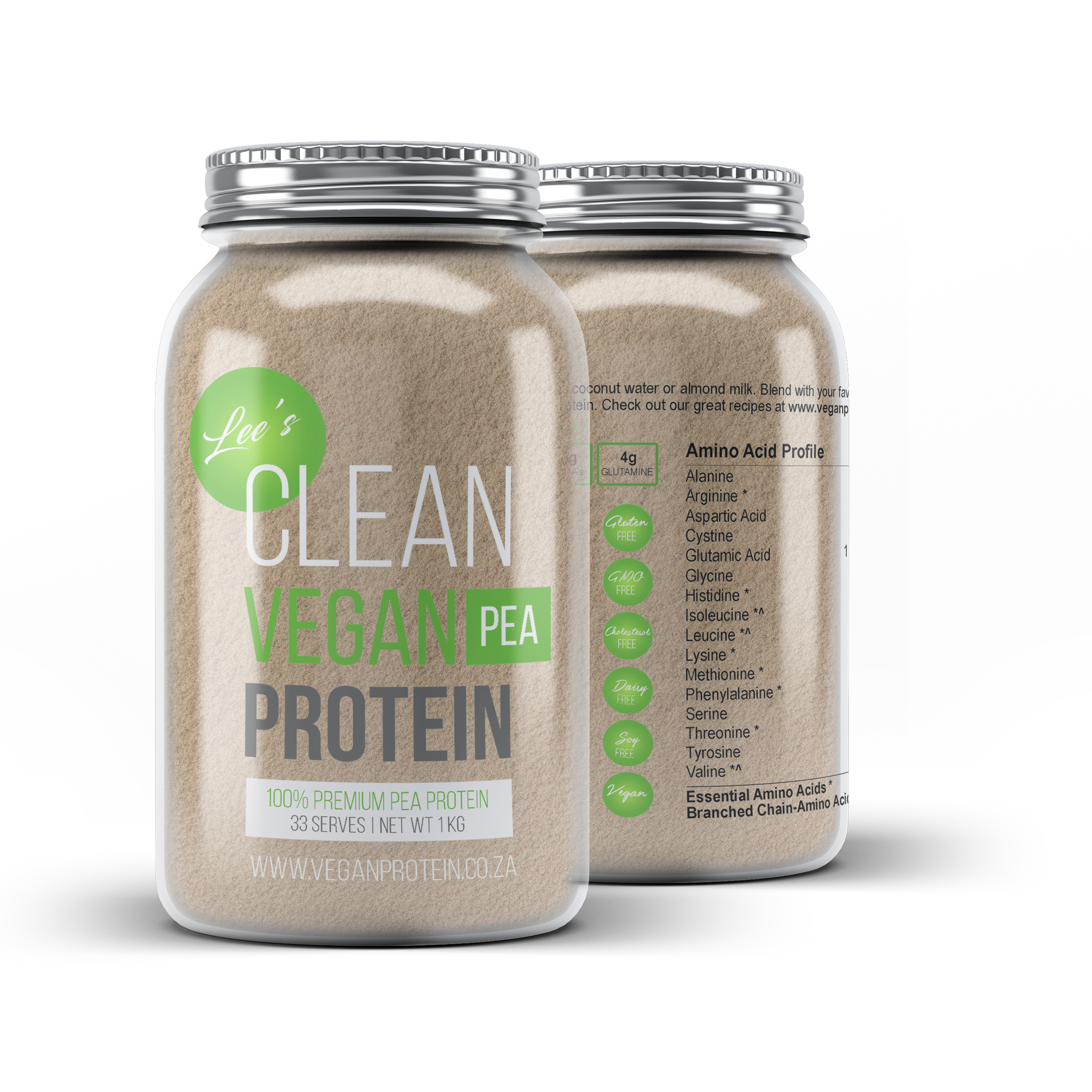 Pea Protein Powder Isolate - 1Kg in Glass Jars