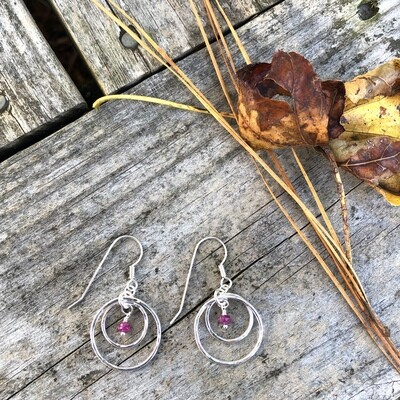 Natural Rubies with Sterling Silver Double Rounds