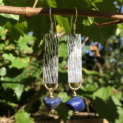 Sterling Silver Earrings With Lapis Nuggets