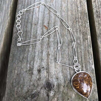 Sterling Silver Pendant and Handmade Chain with Coquina Jasper