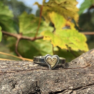 Sterling Silver & Gold-filled Heart ring