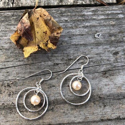 Champagne Pearls with Sterling Silver Double Rounds