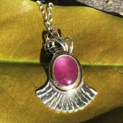 Pink Sapphire Fan-shaped pendant