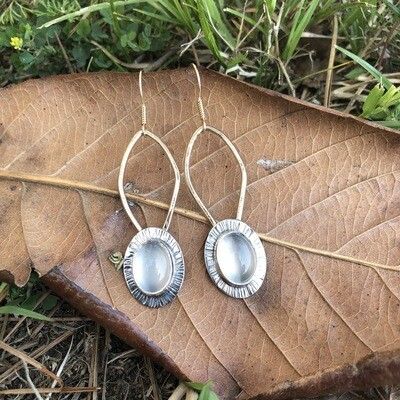 Mixed Metal Earrings with Cateye Quartz