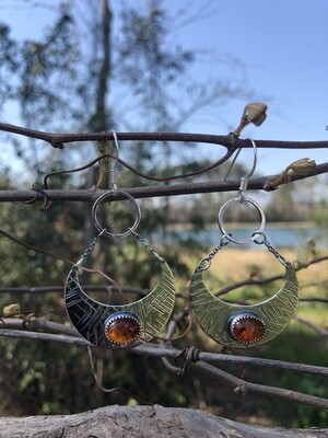 Sterling Silver Crescent earrings with Amber