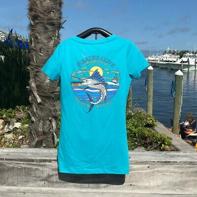 Lined Marlin Ladies' Next Level V-Neck Tee